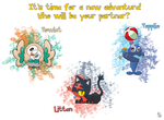 Pokemon Sun and Moon - The Alola Region Starters by TheWhiteScatterbug