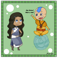 Chibi Katara and Aang by Jackie-lyn