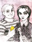 Pugsley and Wednesday by MistyTang
