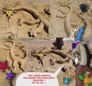 Bored at the beach Part 1: Discord sand sculpture by seriousdog