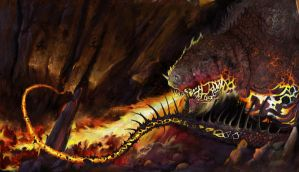 Cave dragon - morning yawn by unholy-scribe
