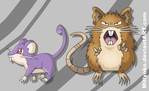 Rattata and Raticate by Millyoko