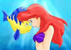 Ariel and Flounder by VeronicaMagnasco