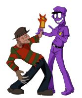 Purple guy and Freddy by Taneysha