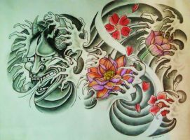 Hannya Mask/Lotus Flower/Cherry Blossom by 814CK5T4R