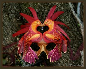 Phoenix Love - Leather Mask by windfalcon