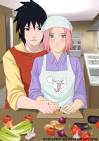 SasuSaku cooking lesson by byBlackRose