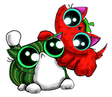 Funny cat kittens strawberry and watermelon by KingZoidLord