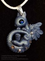 silver and blue baby dragon necklace by carmendee