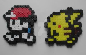 Perler Ash And Pikachu by TMNT1984