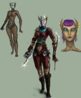 female elf fighter concept by Blavit