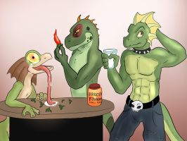 Three lizards and a jar of peppers by Ferroth