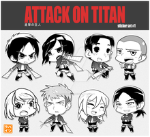 [Attack on Titan] NiuCon Sticker Set #1 by Hatsuraikun