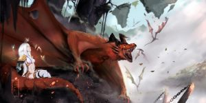 Dragon Age - Mythal and the Dragons by IFrAgMenTIx