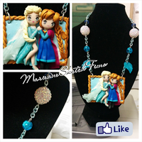 Elsa and Anna Handmade Picture Polymer Clay by DarkettinaMarienne