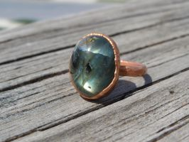 Copper electroformed ring with flashy labradorite by whippetgirl