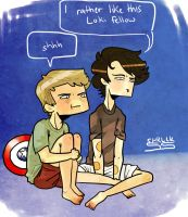sherlock and john watch the avengers by SherlockShiverNShake