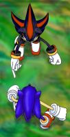 Sonic Vs Shadow -coloured- by chibibecca