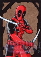 Deadpool Sketch Card by ElainePerna