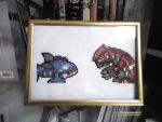 Cross stitched Kyogre and Groudon by Miloceane