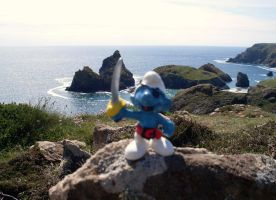 The Pirate Smurf of Kynance Cove by UncleGargy