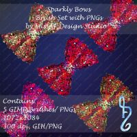 Sparkly Bows Brush Set with PNGs Included by MissAFDesignStudio