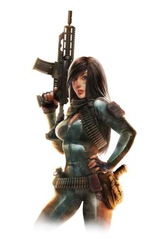 machine gun girl for Jurassic Hunter by DaniNaimare
