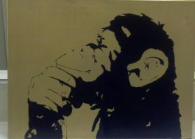 Monkey Acrylic Painting by Garysaggese