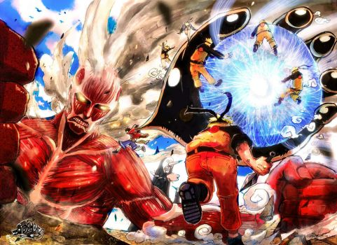 Titan vs  OnePiecE x NAruTO by DemonG3
