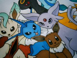 A close-up of Eeveelutions Playmat by daughterdragon