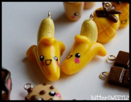 Kawaii Banana Charms by bitterSWEETones