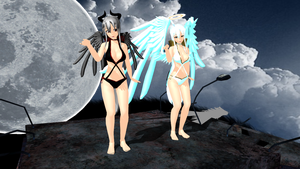 Sexy Angel and Demon Haku - DL by CamillaJune