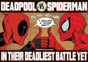 Deadpool Vs Spiderman A3 Print by Jesterman