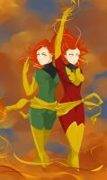 Jean Grey and her Phoenix form by juli3e