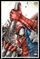 Spider-Man VS Rhino by LeoColapietroArt