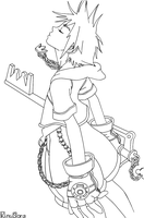 Sora from Kingdom Hearts - Lineart by KireiSora
