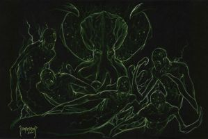 Night Gaunts And Cthulhu by Dubisch