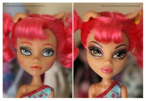 Repainting VS Factory Makeup: Howleen Wolf II by MySweetQueen-Dolls