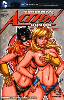 Batgirl + Supergirl tease sketch cover by gb2k