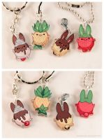 Food Bunny Acrylic Charms by pocket-sushi