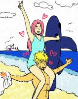 narusaku on the beach by DanaZeng