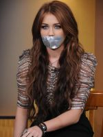 Miley Cyrus gagged with tape by ikell