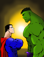 Intimidation Tactics: Superman vs Hulk by portfan