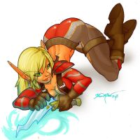 Blood Elf Rogue Illustration by dawnbest