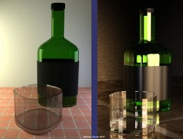 Whiskey glass and bottle by galidor