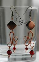 Copper earrings with red beads by LeafOfSteel