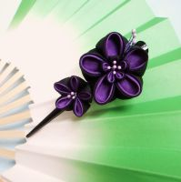 Night ume kanzashi clip by elblack