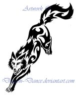 Fierce Tribal Leaping Wolf Tattoo by DansuDragon