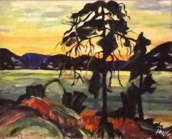 painting of a lake and a silhouette of a tree by Azupaula
