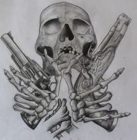 skull and guns unfinished by ifinch